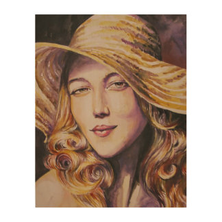 Woman with hat wood wall decor