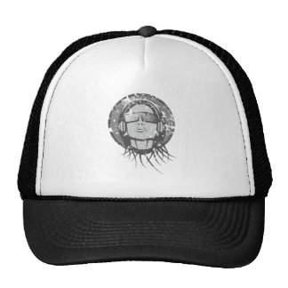 Woman with headphone woman with headphones trucker hat
