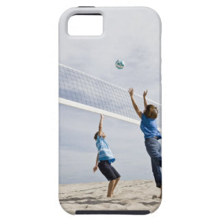 Woman with her grandson playing beach volleyball iPhone 5 cover