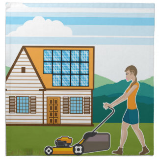 Woman with lawnmower at her house cloth napkins