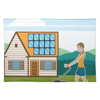Woman with lawnmower at her house place mat