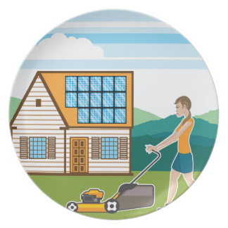 Woman with lawnmower at her house plate