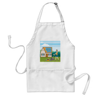 Woman with lawnmower at her house standard apron