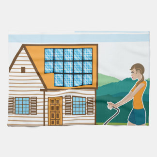 Woman with lawnmower at her house tea towels