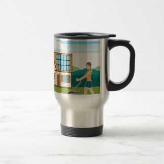 Woman with lawnmower at her house travel mug