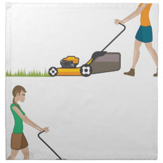 Woman with lawnmower cloth napkin