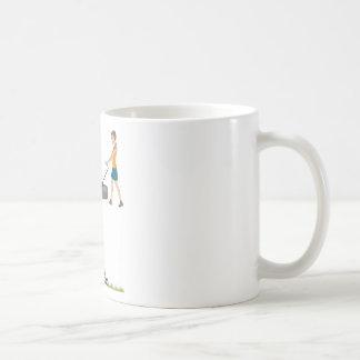 Woman with lawnmower coffee mug