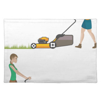 Woman with lawnmower placemats