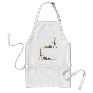 Woman with lawnmower standard apron