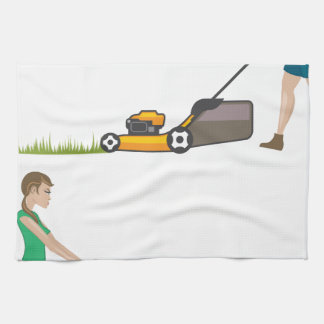 Woman with lawnmower tea towel