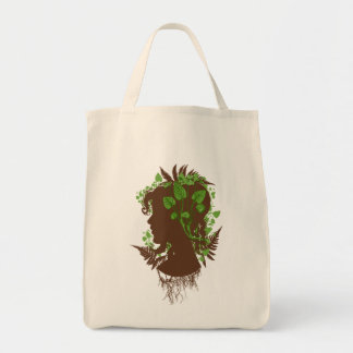 Woman with Leaves and Vines Grocery Tote Bag