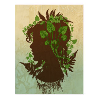 Woman with Leaves and Vines Postcard