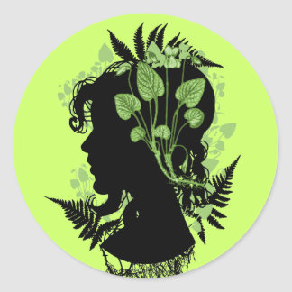 Woman with Leaves and Vines Round Sticker