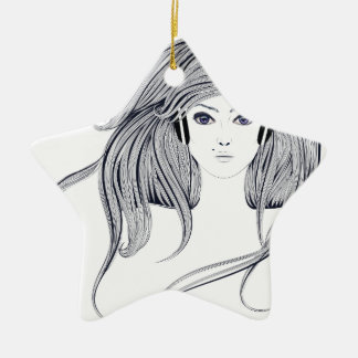 Woman with Long Hair 4 Christmas Ornament
