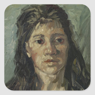 Woman with Loose Hair by Vincent Van Gogh Square Stickers