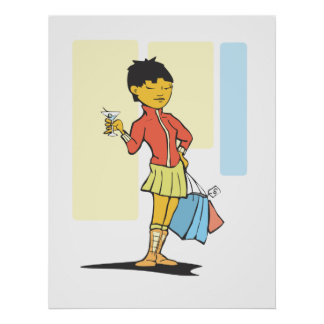 Woman with Martini Print