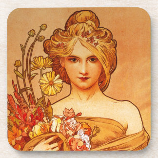 Woman with Oragna Bouquet Beverage Coasters