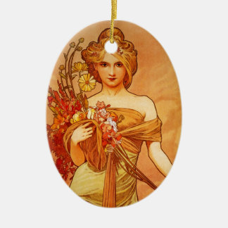 Woman with Oragna Bouquet Christmas Ornament