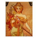 Woman with Orange Bouquet Poster