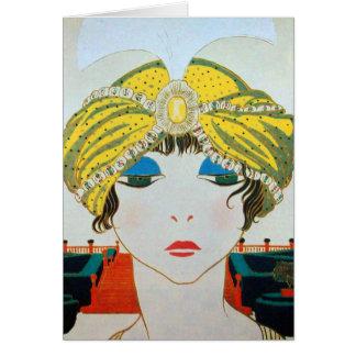 WOMAN WITH ORIENTAL YELLOW TURBAN / Beauty Fashion Card