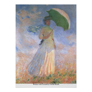 Woman with Parasol by Claude Monet Poster