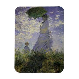 Woman with Parasol by Claude Monet, Vintage Art Rectangular Photo Magnet