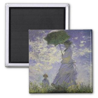 Woman with Parasol by Claude Monet, Vintage Art Square Magnet
