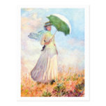 Woman with Parasol (facing right) by Claude Monet Postcard
