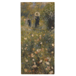Woman with Parasol in a Garden by Renoir Wood USB 2.0 Flash Drive