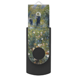 Woman with Parasol in a Garden by Renoir Swivel USB 2.0 Flash Drive