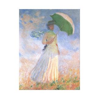 Woman with Parasol Monet Fine Art Stretched Canvas Print