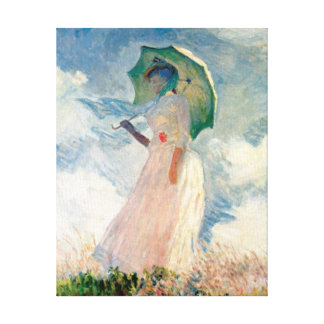 Woman with Parasol Promenade Monet Stretched Canvas Prints
