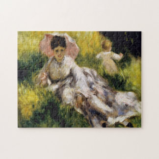 Woman with Parasol Renoir Fine Art Jigsaw Puzzle