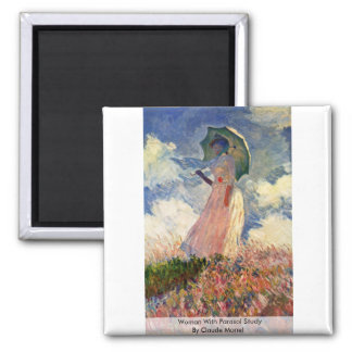 Woman With Parasol Study By Claude Monet Square Magnet
