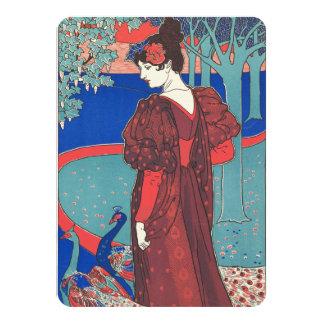 Woman With Peacocks Art Nouveau Vintage Fine Art 11 Cm X 16 Cm Invitation Card
