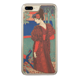 Woman With Peacocks Art Nouveau Vintage Fine Art Carved iPhone 8 Plus/7 Plus Case