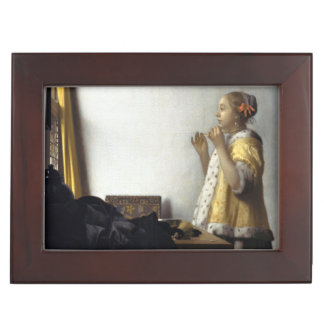 Woman with Pearl Necklace by Johannes Vermeer Keepsake Box