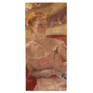 Woman with Pearl Necklace in a Loge - Mary Cassatt Wood USB 2.0 Flash Drive