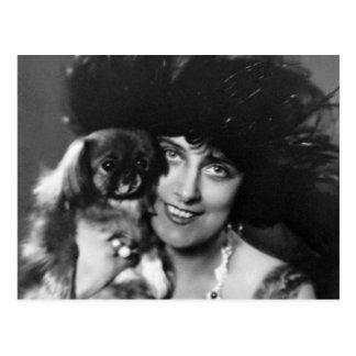 Woman with Pekingese 1920s Postcard
