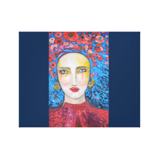 Woman with poppies in her hair canvas print