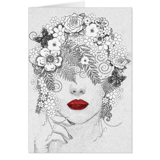 Woman with Red Lips Card