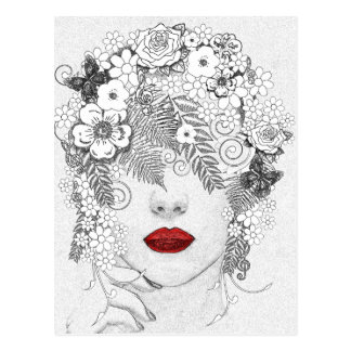 Woman with Red Lips Postcard