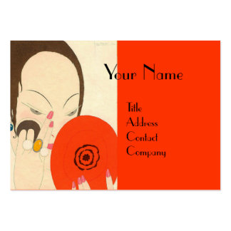 WOMAN WITH RED MIRROR Deco Beauty Fashion Makeup Business Card Templates