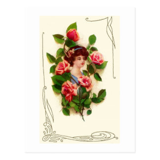 Woman with Roses Vintage Image Postcard