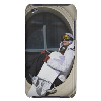 Woman with snowboard sitting in window iPod touch cover