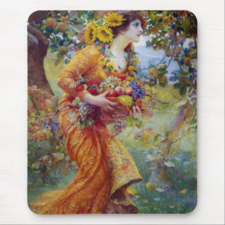 Woman with Summer Bounty Mouse Mat