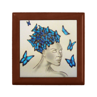 woman with the butterflies gift box