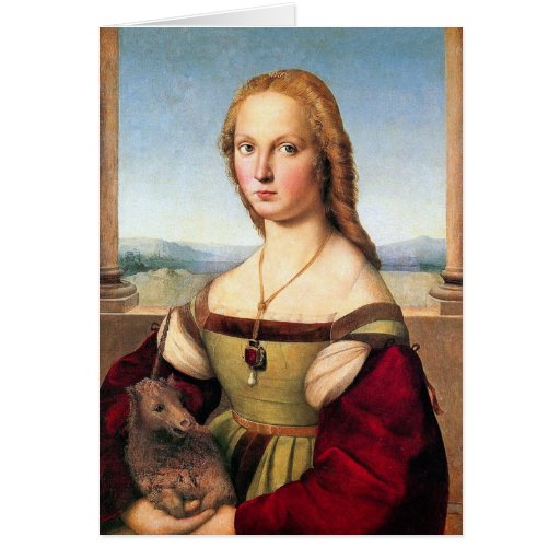 Woman with the Unicorn - by Raphael Cards