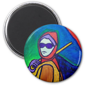 Woman with Umbrella by Piliero 6 Cm Round Magnet