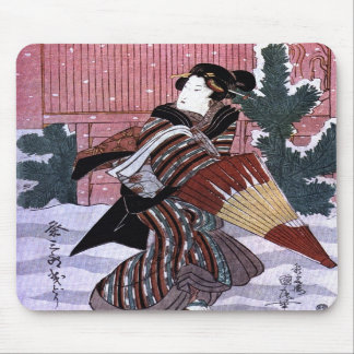 Woman With Umbrella in the Snow Mousepad